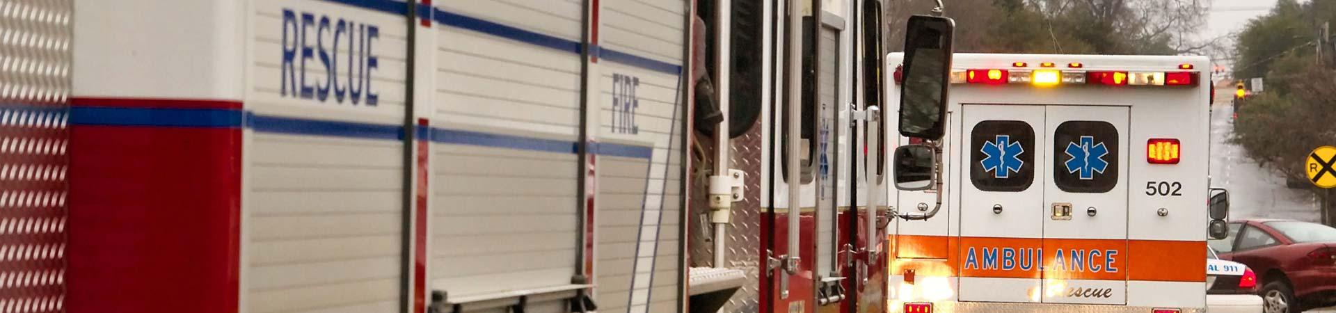 Firetruck and ambulance. Burn injury lawyer Atlanta, GA>