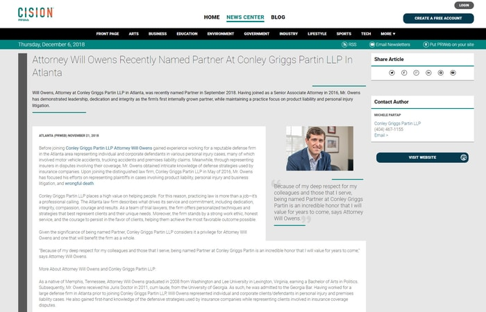 Screenshot of press release 'Attorney Will Owens Recently Named Partner At Conley Griggs Partin LLP In Atlanta'
