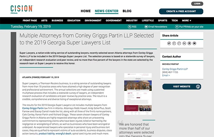 Screenshot of press release: Multiple Attorneys from Conley Griggs Partin LLP Selected to the 2019 Georgia Super Lawyers List