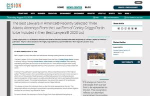The Best Lawyers in America© Recently Selected Three Atlanta Attorneys From the Law Firm of Conley Griggs Partin to be Included in their Best Lawyers® 2020 List