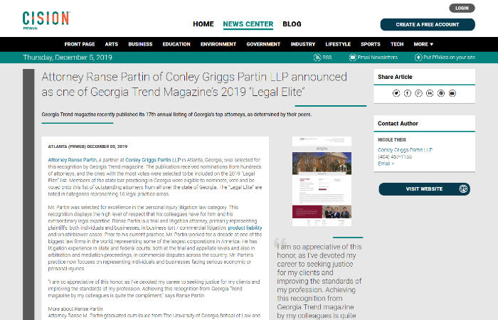 "Screenshot of press release: Attorney Ranse Partin of Conley Griggs Partin LLP announced as one of Georgia Trend Magazine's 2019 ""Legal Elite"""