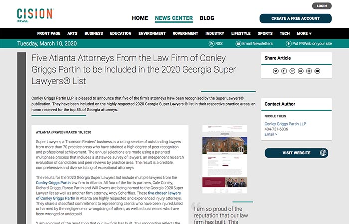 Screenshot of an article - Five Atlanta Attorneys From the Law Firm of Conley Griggs Partin to be Included in the 2020 Georgia Super Lawyers® List.