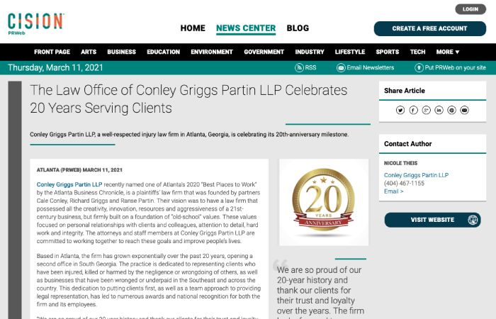 Screenshot of press release titled: The Law Office of Conley Griggs Partin LLP Celebrates 20 Years Serving Clients